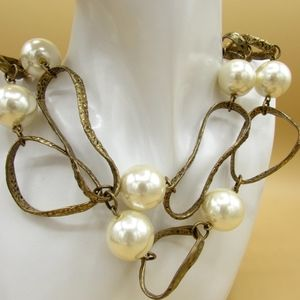 Chicos Faux Pearl Goldmetal Necklace